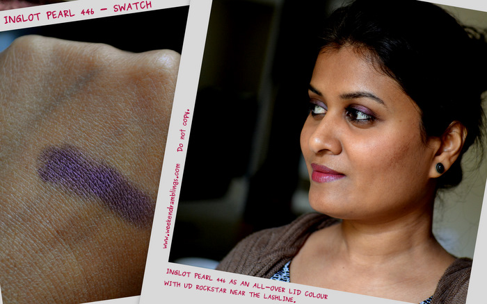 makeup swatches reviews looks fotd eotd blog indian Inglot eyeshadows Pearl 446 purple plum beauty darker skin