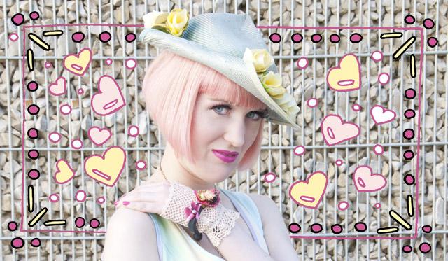hat, pastel, roses, pink hair