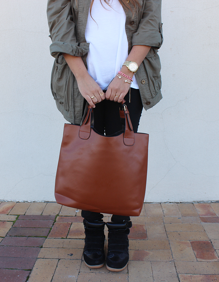 military jacket, sneaker wedges, mr price, scarf stop, bucket bag, heart ring, gold jewellery