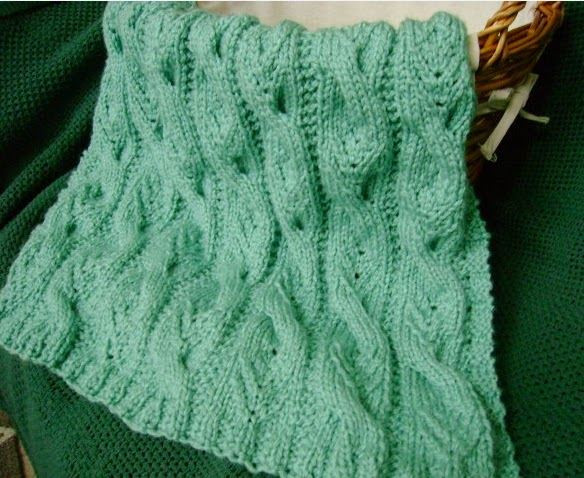 Free Knitted Cup Cozy Pattern : The Fuzzy Lounge: New FREE Knitting Pattern: Sweet Cables Baby Blanket