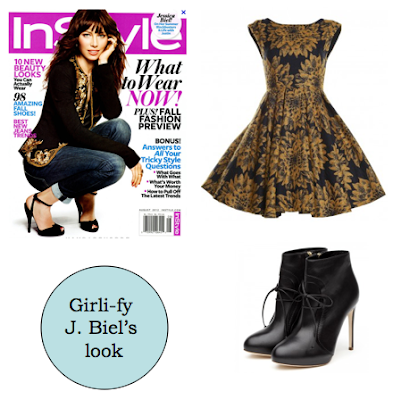 In Style, Jessica Biel, alice + olivia dress, rupert sanderson booties, black booties