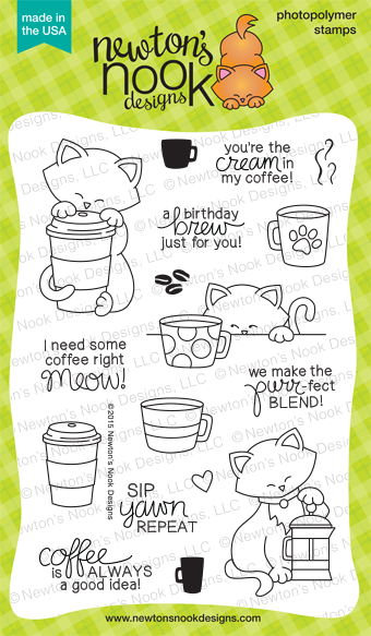 Newton Loves Coffee | Coffee and Cat stamp set by Newton's Nook Desings