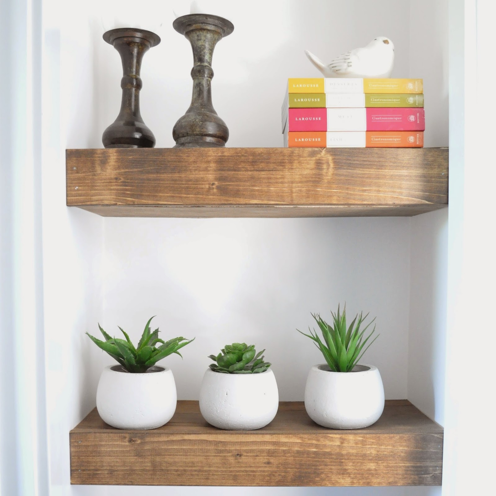 DIY Chunky Stained Wood Shelves - Beckham + Belle