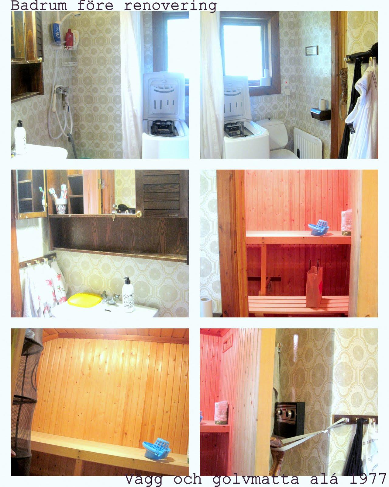 Brunkullan med mosipperötter: badrummet i stugan  före