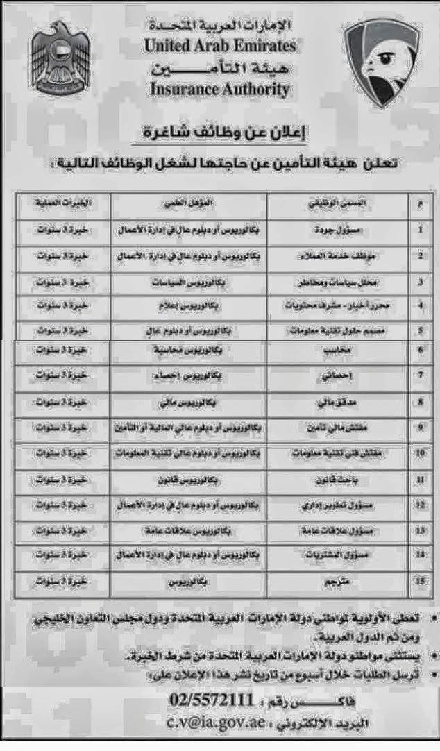 وظائف خالية الإمارات 24/9/2013, وظائف جريدة الاتحاد الثلاثاء 24 سبتمبر 2013