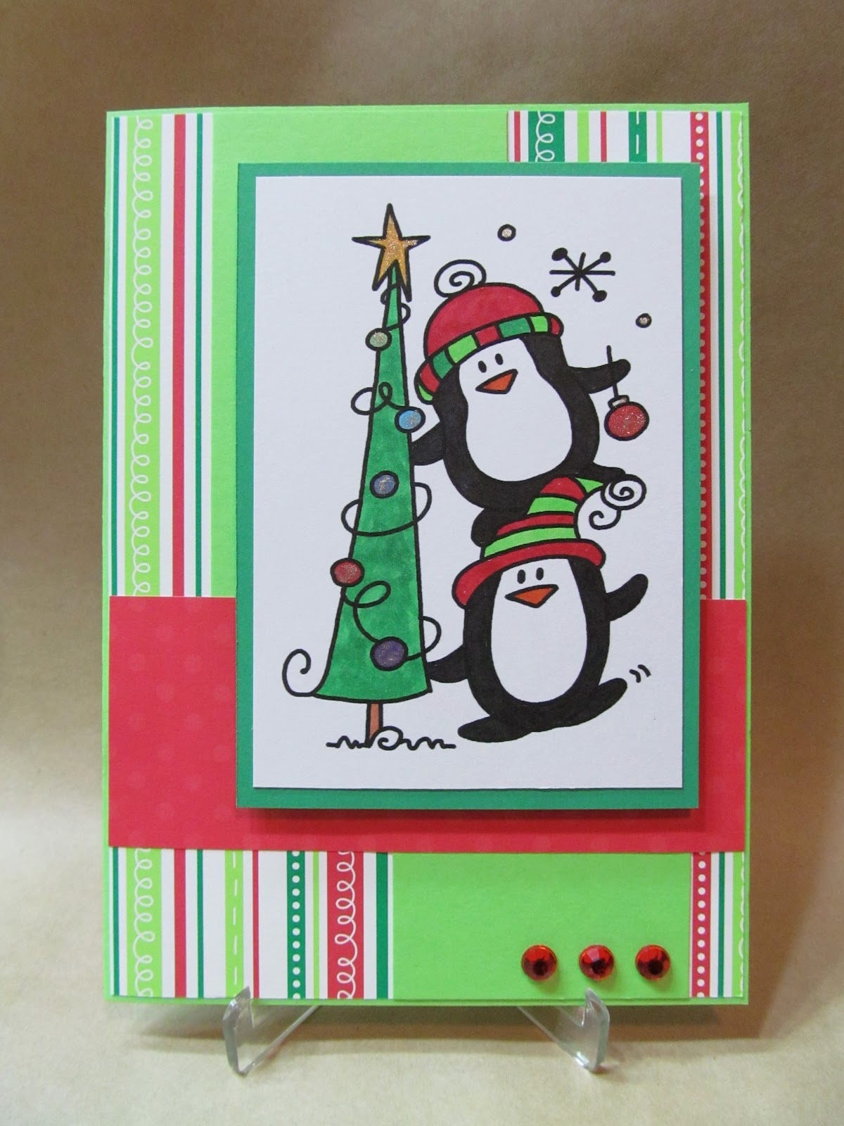Savvy handmade cards penguin christmas card for Handmade christmas cards