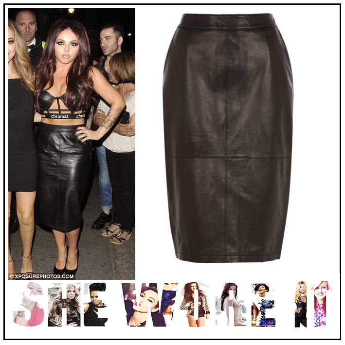 Black, High Waisted, Jesy Nelson, Leather, Leather Skirt, Little Mix, Midi Skirt, Panels, Pencil Skirt, River Island, Seam Detail, Skirt