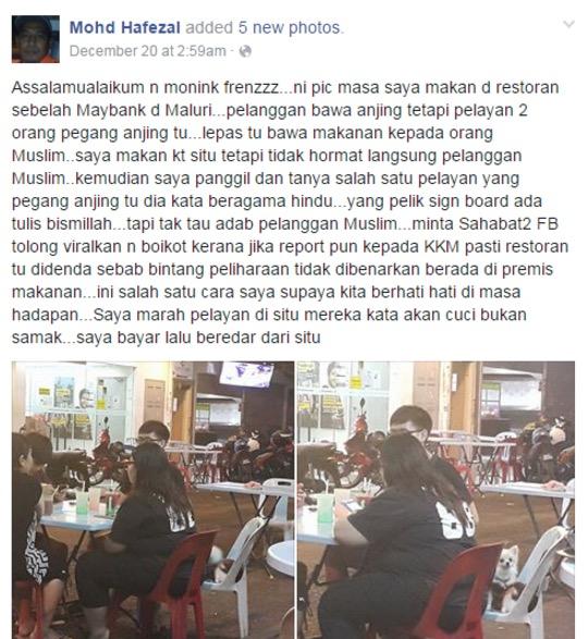 Restoran 'Halal' tapi pelayan selamba pegang anjing