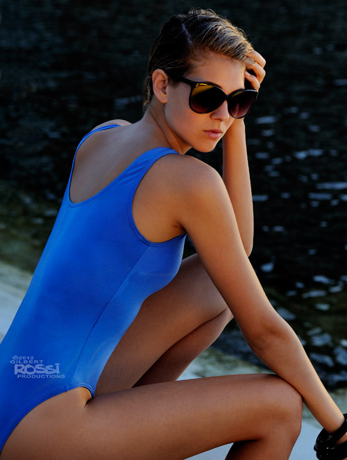 swimwear shot on location by the pool by photographer gilbert rossi, model wearing one piece swimsuit, sarah shaw shooting her modelling portfolio