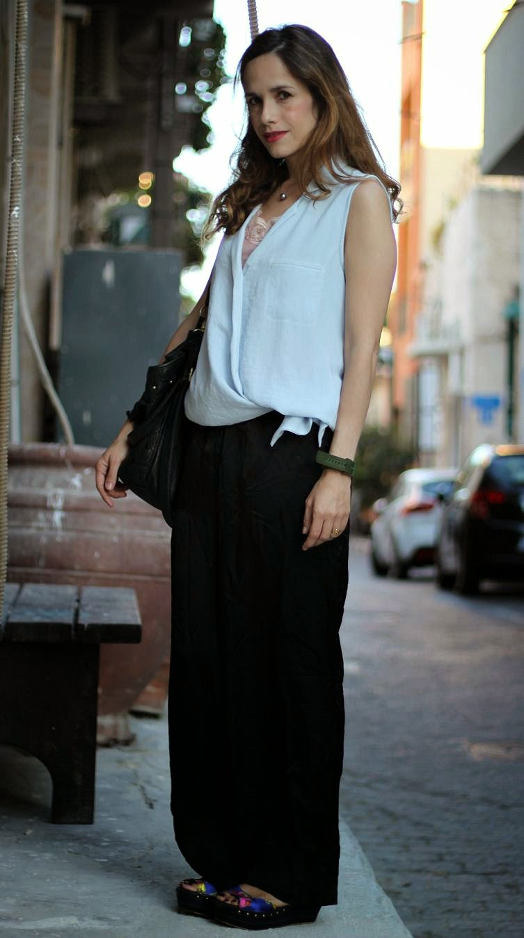 שבוע אופנה חולון, wide trousers, satin, wore,h&m, zara,skinny, jeans