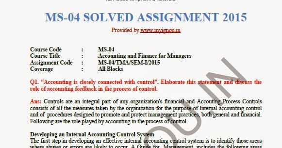 solved asignment ms 02 Ignou mso 002 question papers after submitting mso assignment, students can   students need to solve the ma sociology assignment question papers and.