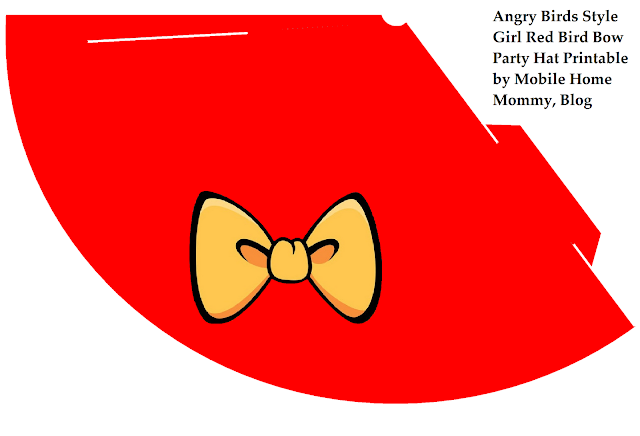 Red Party Hat with tilted yellow bow like Girl Angry Bird wears