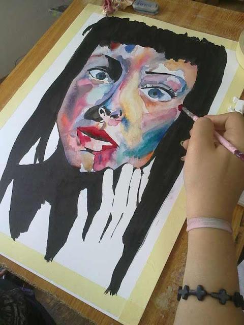 proceso del retrato con tinta y acuarela