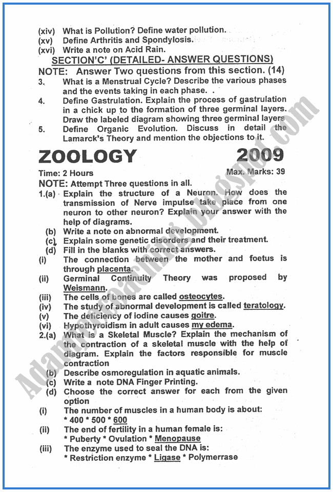 Zoology-2009-past-year-paper-class-XII