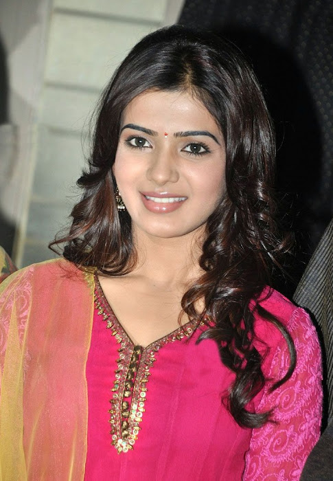 samantha beautiful in pink churidar hot images
