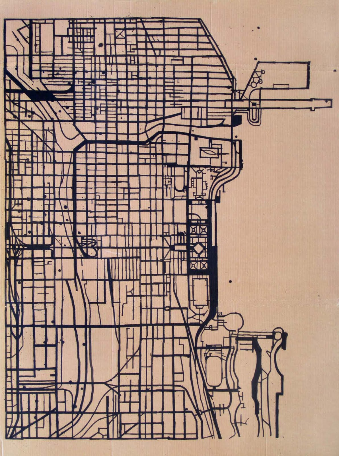 Michael McGuire Large Map Drawing - Chicago map artwork