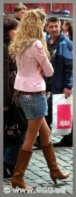 Girl wearing denim mini skirt