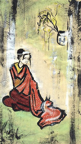 donna ragazza giappone giapponese dipinti orme magiche quadro disegno pittura spirituale arte zen