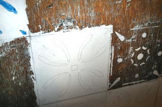 Detalhe pintura tampão de mesa da Casa de Tereza 03- 100x100 cms - Acrílica sobre madeira