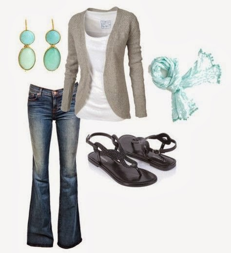 Adorable grey cardigan, white blouse, jeans, sandals and scarf for fall