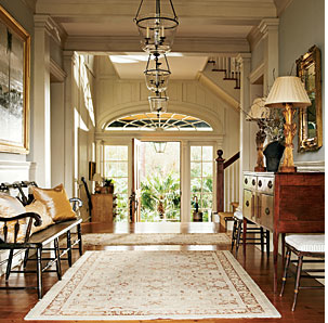 i love this foyer in a charleston home featured in an old issue of southern accents the bell jar pendants are simple yet elegantperfect for a charleston bell jar lighting fixtures