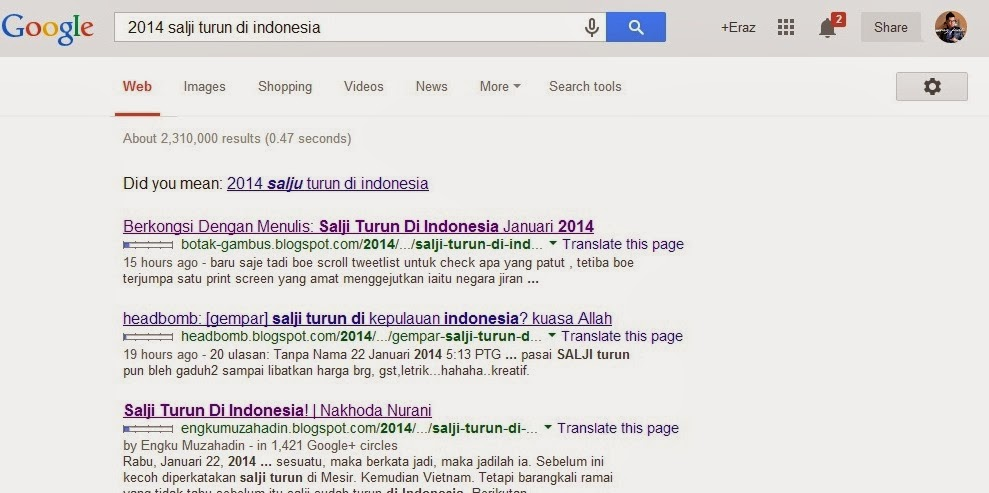 Salji Turun di Indonesia