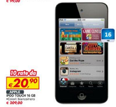 Nell'ultimo volantino auchan di gennaio 2013 e inizio febbraio 2013 tasso zero su tanti prodotti tra cui l'iPod Touch di 4a generazione a 209 euro