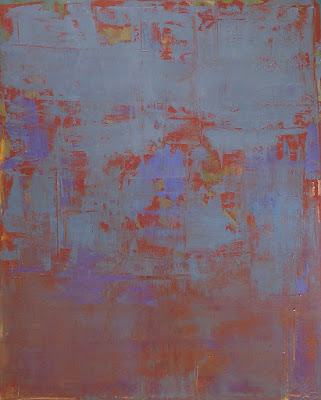 Large abstract painting by artist Karri Allrich titled Aqua Terra, 60 x 48 inches. Layers of paint and glazes.