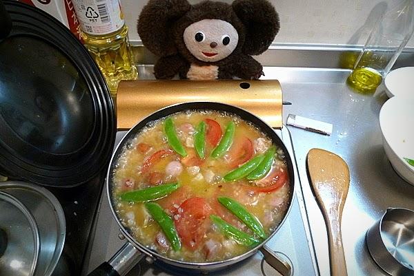 鶏肉のパエリア作り方(3)