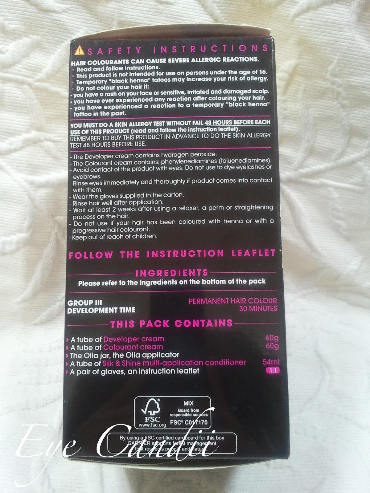 olia hair color instructions