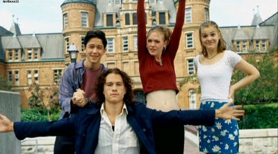 Joseph Gordon-Levitt, Heath Ledger, Larisa Oleynik, and Julia Stiles star in 10 THINGS I HATE ABOUT YOU, a re-imagining of Shakespere's THE TAMING OF THE SHREW