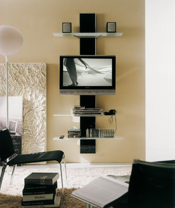 Tv stands for the interior design of the living room for Wall mounted tv designs living room