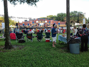 Picnic and production in the park.  Spelling Bee at Dieman's landing, St Pete.
