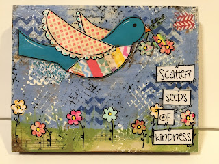 seeds of kindness, boho bird painting, bird sign