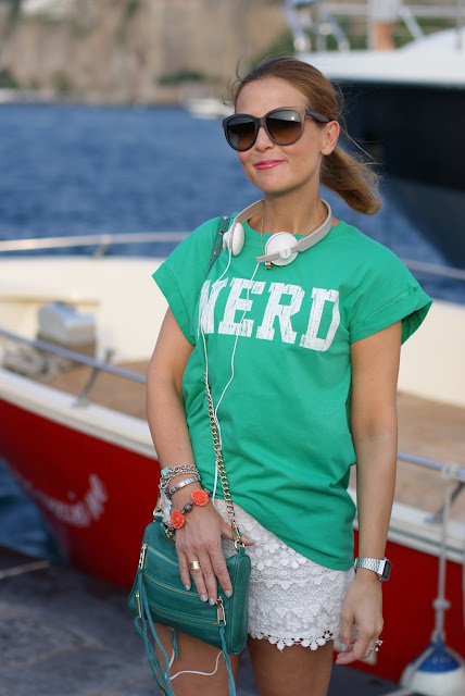 white lace shorts, nerd t-shirt, Rebecca Minkoff green zipper bag, Panasonic headphones white, Fashion and Cookies, fashion blog