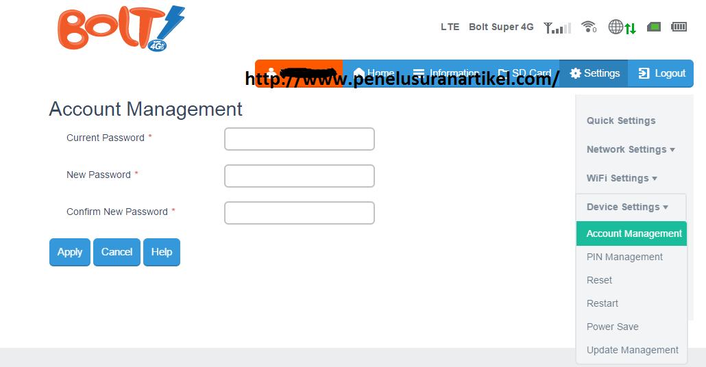 Cara Mudah Ganti Password Admin dan Wifi Modem Bolt ZTE 4G LTE