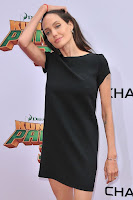 Angelina Jolie wearing simple little black dress at the Kung Fu Panda 3 Premiere red carpet dresses photo