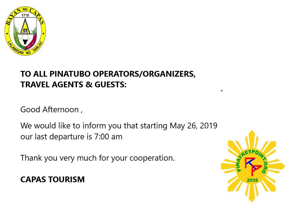 CAPAS TOURISM OFFICE OFFICIAL ADVISORY FOR MOUNT PINATUBO TREKKING ACTIVITY
