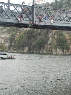 ribeira, porto, bridge, jump