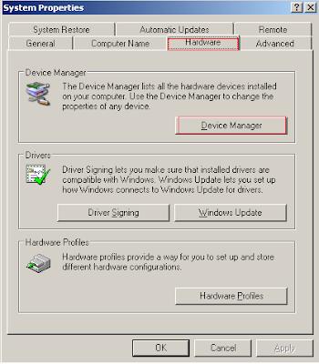 System Properties Hardware