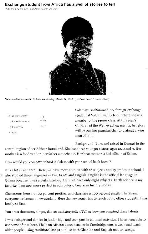 African exchange student