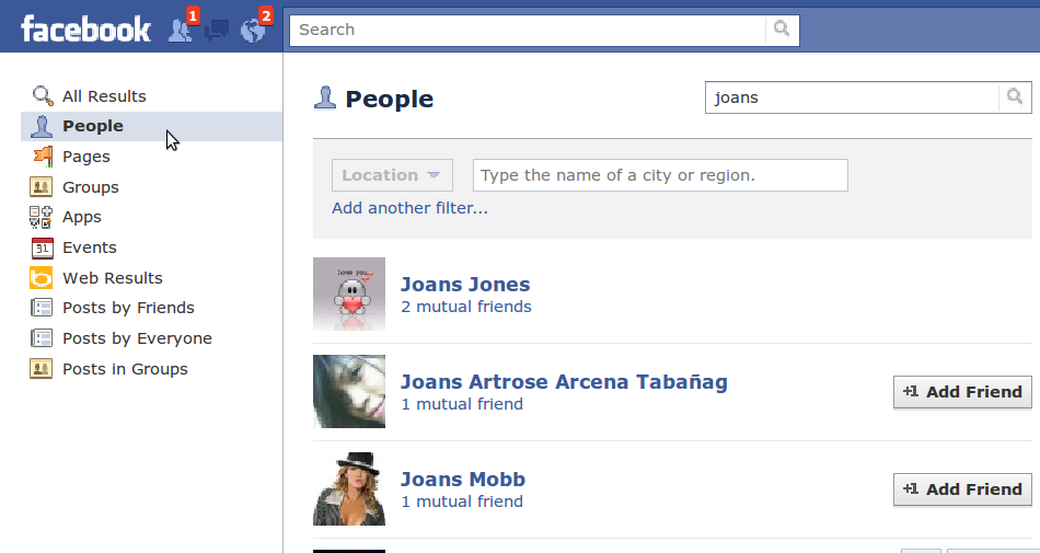 search for friends in facebook
