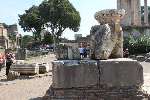 The remains of the Arch of Augustus at Roman Forum in Rome, Italy