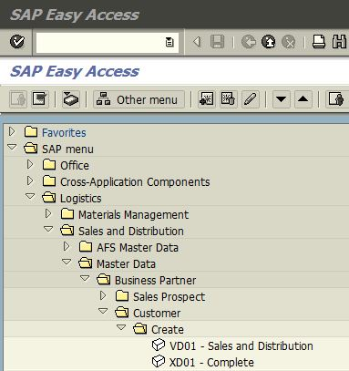 SAP Menu - Create Customer