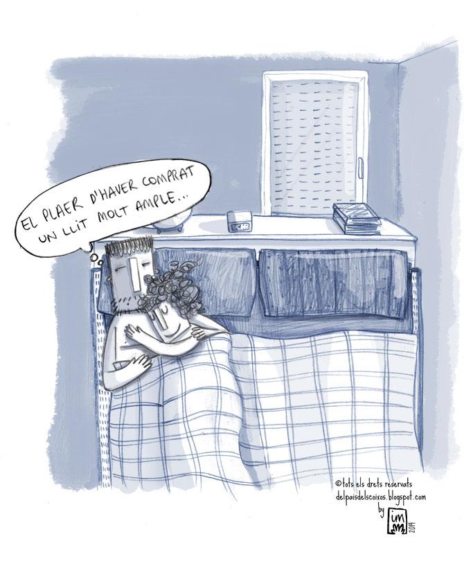 Vinyeta sobre el llit de matrimoni pel blog Del pais dels coixos ©Imma Mestre Cunillera