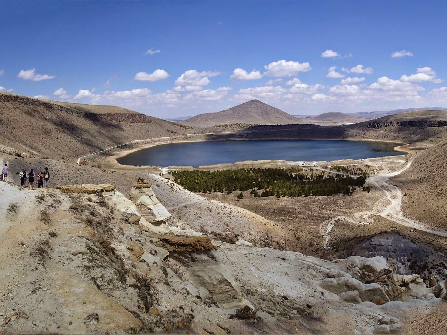 Nar G�l� in April 2014. The lake formed in an old volcano.