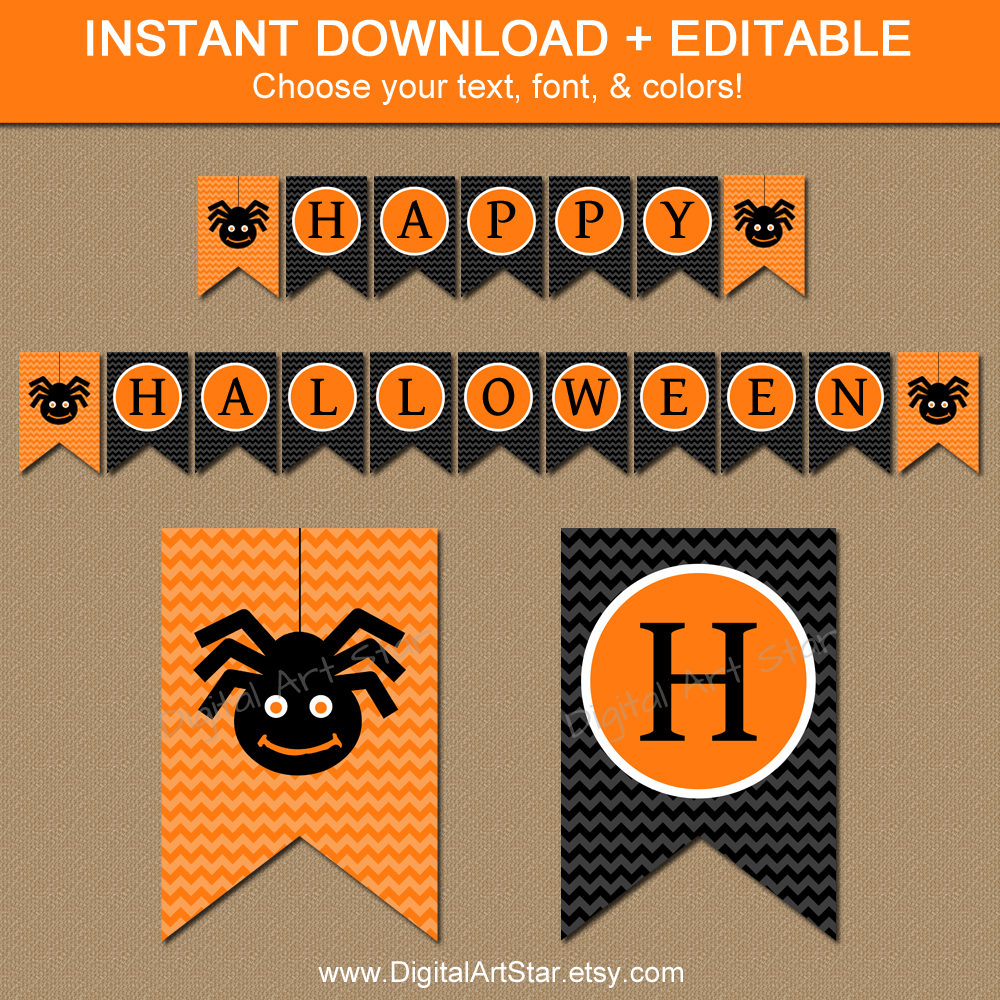 This is a photo of Intrepid Happy Halloween Banner Printable