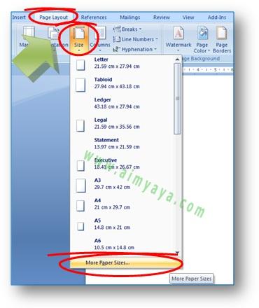 gambar: cara mengatur / merubah ukuran kertas di Microsoft Word 2007