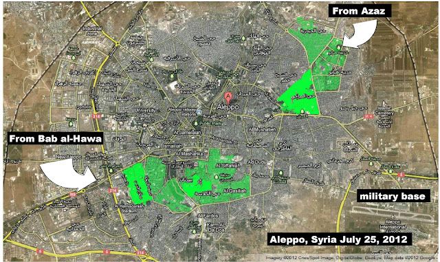 NATO Terrorists Execute Civilians While Waiting for Syrian Army Aleppo July25 2012 Map