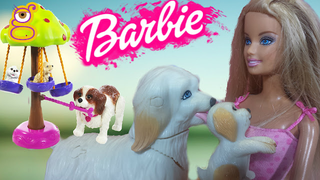 Muñeca Barbie y sus perritos - Barbie doll and her dogs Juguetes Barbie